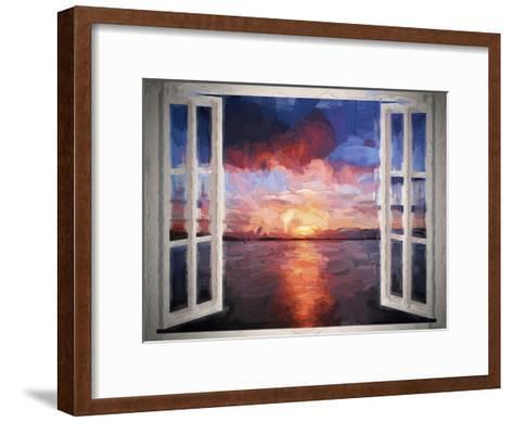 Window Sundown Sea Painting-Grab My Art-Framed Art Print