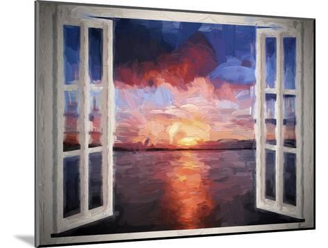 Window Sundown Sea Painting-Grab My Art-Mounted Art Print