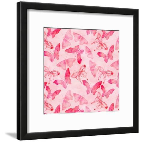 Butterfly Watercolor Pink - Square-Lebens Art-Framed Art Print