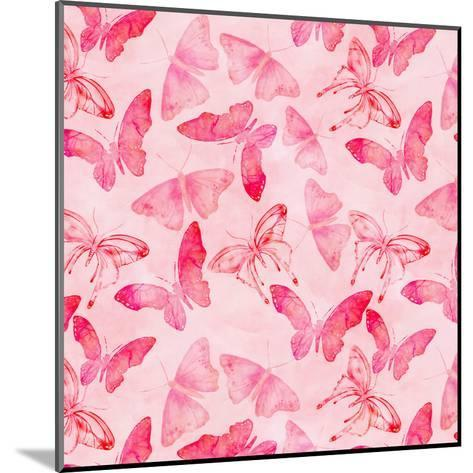 Butterfly Watercolor Pink - Square-Lebens Art-Mounted Art Print