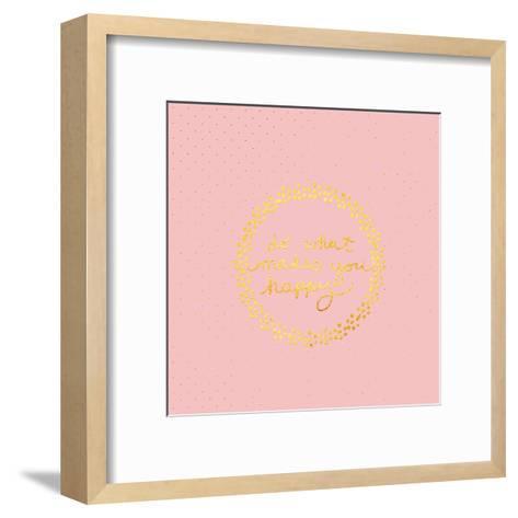 Pink Gold Glitter Pattern Typography-Square-Grab My Art-Framed Art Print