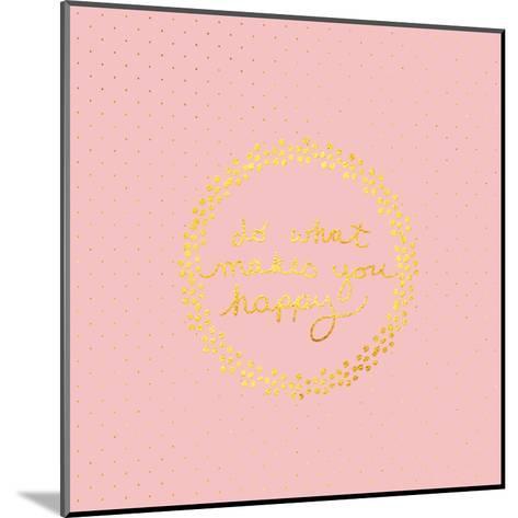 Pink Gold Glitter Pattern Typography-Square-Grab My Art-Mounted Art Print