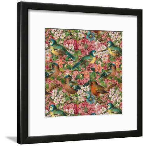 Vintage Flower Bird - Square-Lebens Art-Framed Art Print