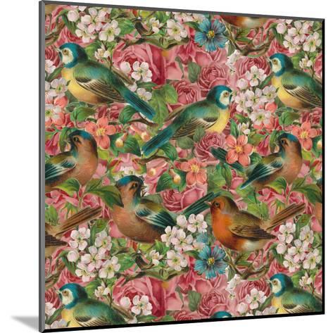 Vintage Flower Bird - Square-Lebens Art-Mounted Art Print