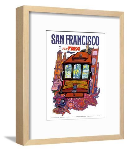 San Francisco, USA - Fly TWA (Trans World Airlines) - Presidio, California, Market Street Cable Car-David Klein-Framed Art Print
