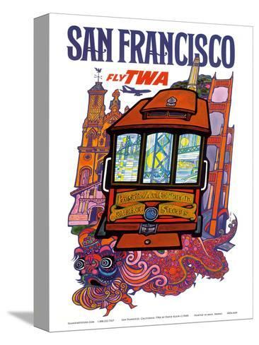 San Francisco, USA - Fly TWA (Trans World Airlines) - Presidio, California, Market Street Cable Car-David Klein-Stretched Canvas Print