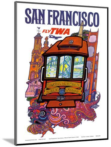 San Francisco, USA - Fly TWA (Trans World Airlines) - Presidio, California, Market Street Cable Car-David Klein-Mounted Art Print