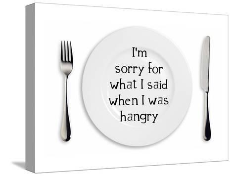 Hangry Sorry Plate-Indigo Sage Design-Stretched Canvas Print