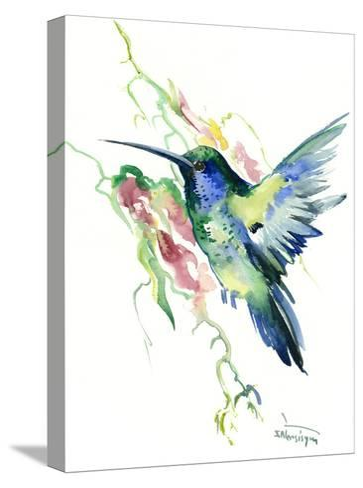 Hummingbird Indigo-Suren Nersisyan-Stretched Canvas Print