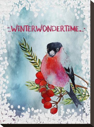 Bird Winter Snow Christmas Illustration 4-Grab My Art-Stretched Canvas Print