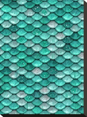 Aqua Glitter Mermaid Scales-Grab My Art-Stretched Canvas Print