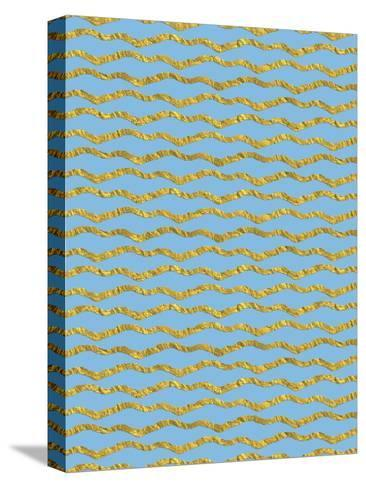 Blue Gold Glitter Pattern Waves-Grab My Art-Stretched Canvas Print