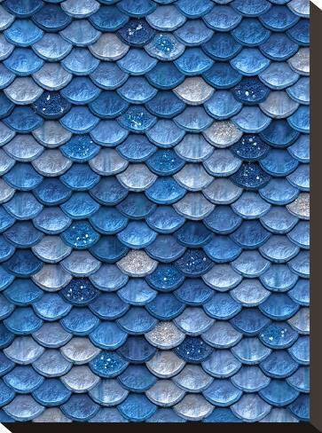 Blue Mermaid Glitter Scales-Grab My Art-Stretched Canvas Print