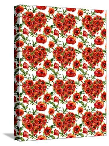 Poppies Poppy Pattern Illustration 4-Grab My Art-Stretched Canvas Print