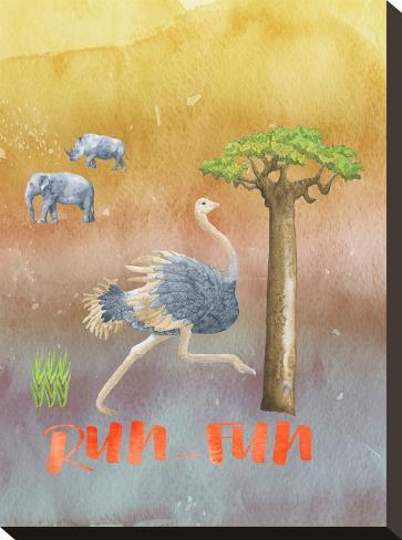 Ostrich Animal Wild Bird-Grab My Art-Stretched Canvas Print