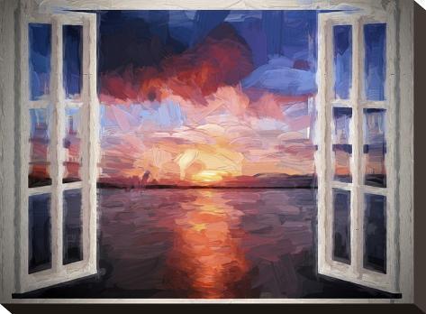 Window Sundown Sea Painting-Grab My Art-Stretched Canvas Print