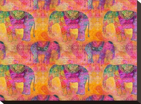 Elephants-Lebens Art-Stretched Canvas Print