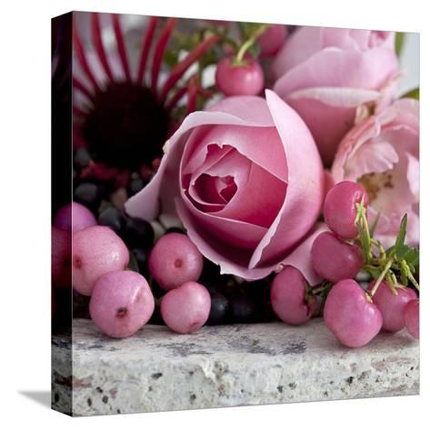 Pink Rose - Square-Lebens Art-Stretched Canvas Print