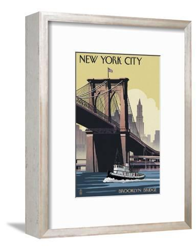 New York City - Brooklyn Bridge-Lantern Press-Framed Art Print