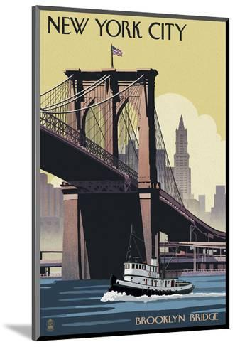 New York City - Brooklyn Bridge-Lantern Press-Mounted Art Print