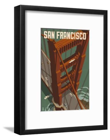 San Francisco - Golden Gate Bridge-Lantern Press-Framed Art Print