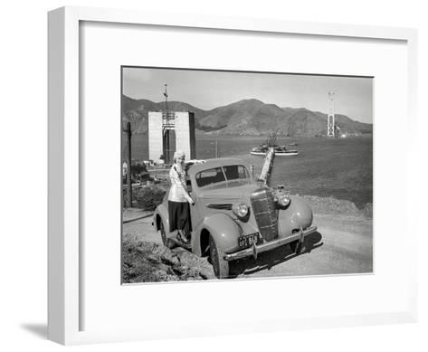 Golden Gate Bridge Under Construction, 1935, San Francisco-Unknown-Framed Art Print