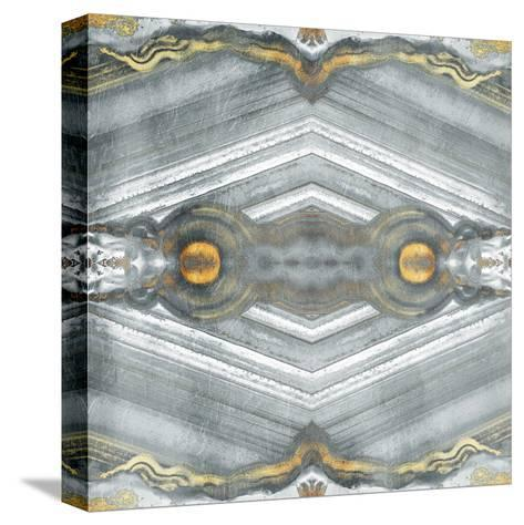 Kaleidoscope Gold And Grey-Jace Grey-Stretched Canvas Print