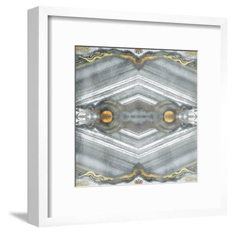 Kaleidoscope Gold And Grey-Jace Grey-Framed Art Print