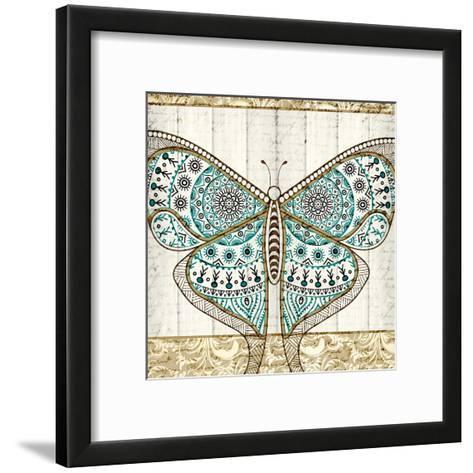 Damask Butterfly Teal 1-Kimberly Allen-Framed Art Print