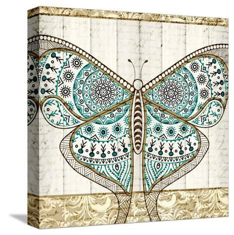 Damask Butterfly Teal 1-Kimberly Allen-Stretched Canvas Print