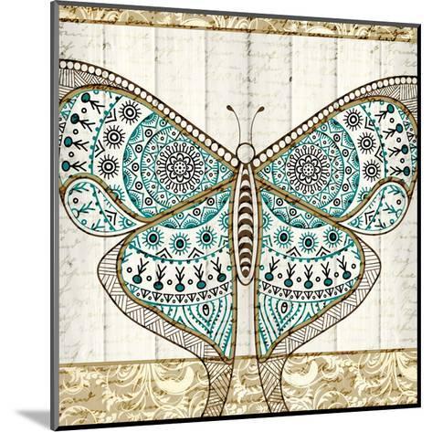 Damask Butterfly Teal 1-Kimberly Allen-Mounted Art Print