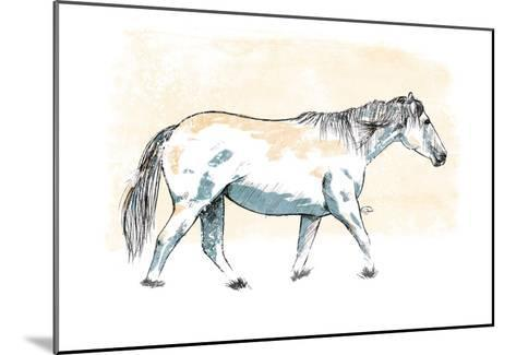 Walking Horse Blue-OnRei-Mounted Art Print