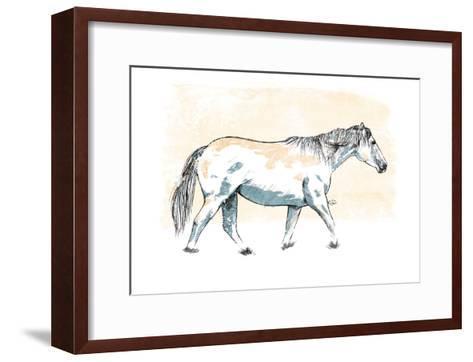 Walking Horse Blue-OnRei-Framed Art Print