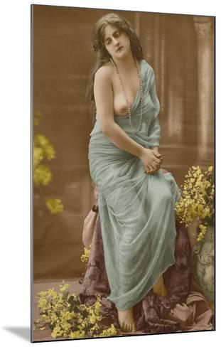 Classic Vintage French Nude - Hand-Colored Tinted Art-Pacifica Island Art-Mounted Premium Giclee Print