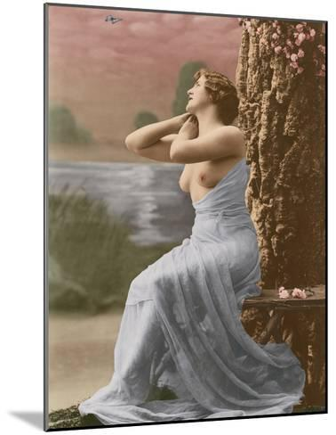Classic Vintage French Nude - Hand-Colored Tinted Art-Pacifica Island Art-Mounted Giclee Print