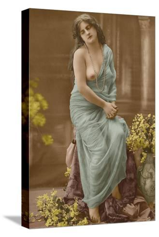 Classic Vintage French Nude - Hand-Colored Tinted Art-Pacifica Island Art-Stretched Canvas Print