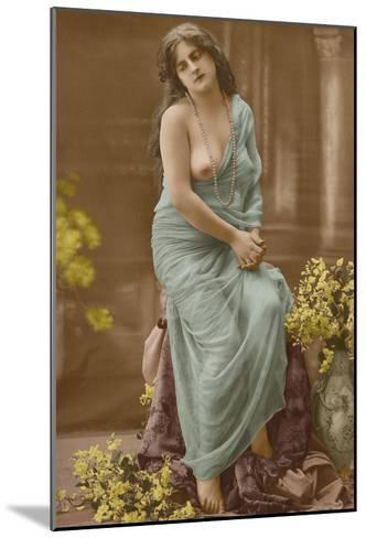 Classic Vintage French Nude - Hand-Colored Tinted Art-Pacifica Island Art-Mounted Art Print