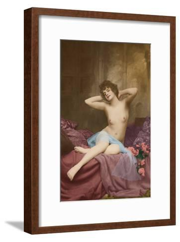 Classic Vintage French Nude - Hand-Colored Tinted Art-NPG - Neue Photographische Gesellschaft-Framed Art Print