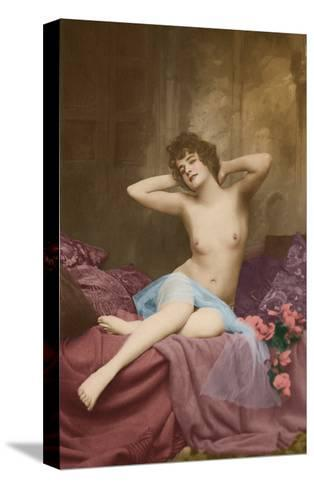 Classic Vintage French Nude - Hand-Colored Tinted Art-NPG - Neue Photographische Gesellschaft-Stretched Canvas Print