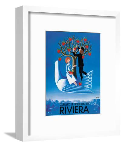 Gathering Happiness at the Riviera (Cueille le Bonheur en Riviera) - French-Italian Riviera-Raymond Peynet-Framed Art Print