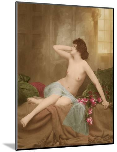Classic Vintage French Nude - Hand-Colored Tinted Art-NPG Studio-Mounted Giclee Print