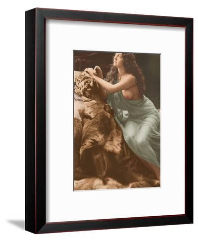 Classic Vintage French Nude - Hand-Colored Tinted Art-Louis-Ame?de?e Mante-Framed Art Print