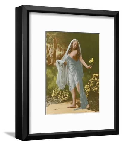 Classic Vintage French Nude - Hand-Colored Tinted Art-Pacifica Island Art-Framed Art Print