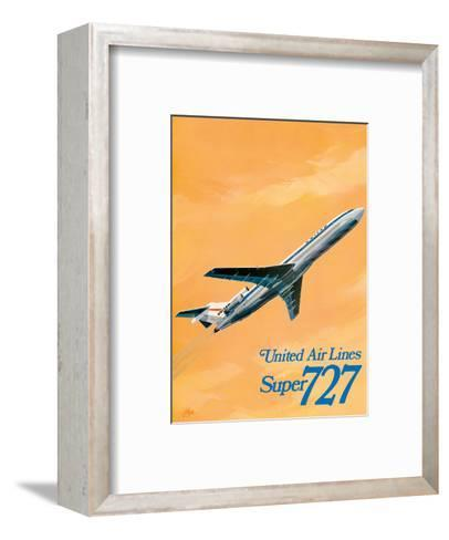 Boeing Super 727 Jet Airplane - United Airlines-C Bail-Framed Art Print