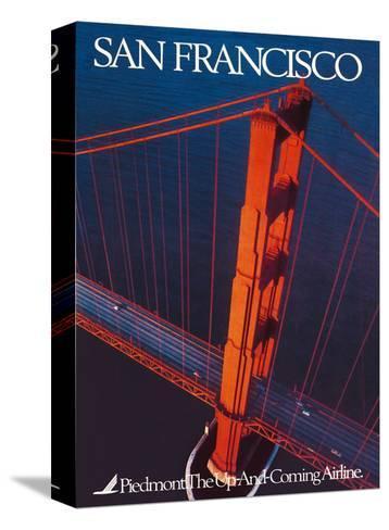 San Francisco - Piedmont Airlines - Golden Gate Bridge-Pacifica Island Art-Stretched Canvas Print