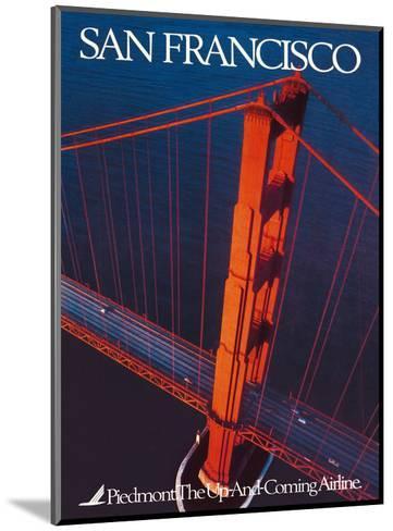 San Francisco - Piedmont Airlines - Golden Gate Bridge-Pacifica Island Art-Mounted Art Print