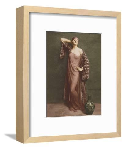 Yasmin, Portrait - Classic Vintage French Nude - Hand-Colored Tinted Art-Albert Henry Collings-Framed Art Print