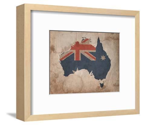 Map with Flag Overlay Australia-Color Me Happy-Framed Art Print