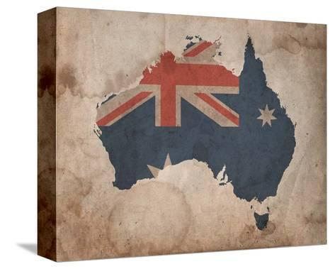 Map with Flag Overlay Australia-Color Me Happy-Stretched Canvas Print