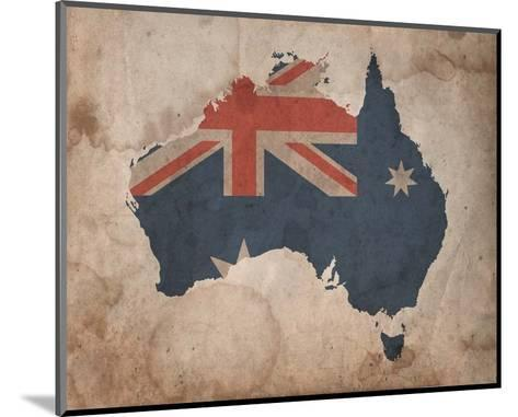 Map with Flag Overlay Australia-Color Me Happy-Mounted Art Print